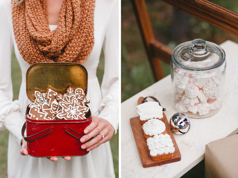 Christmas goodies, cake, cookies & pie for a styled engagement shoot by Amuse Bakeshop