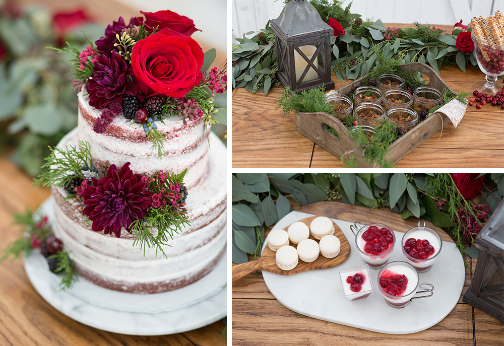 Winter Valentine's Day Red and White Wedding Styled Shoot at White Sparrow Barn Dessert Bar Amuse Bake Shop