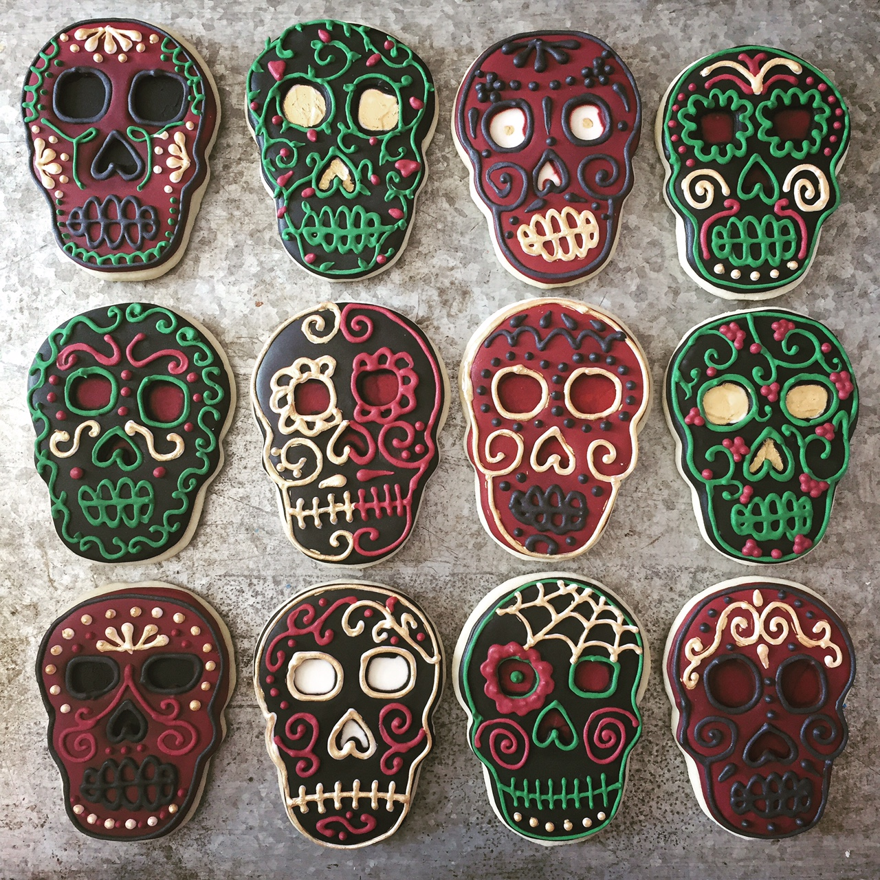 Sugar skull decorated cookies