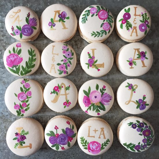 Hand painted engagement macarons